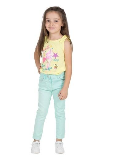 Silversun Kids Kız Çocuk Baskılı Omuzdan Fiyonk Detaylı Kolsuz Tişört Bk 216048 Sarı
